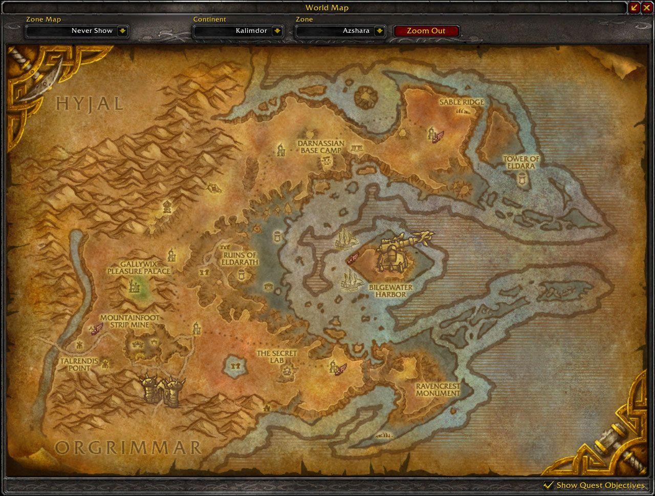 Azshara Cataclysm map wow screenshot - Gamingcfg.com