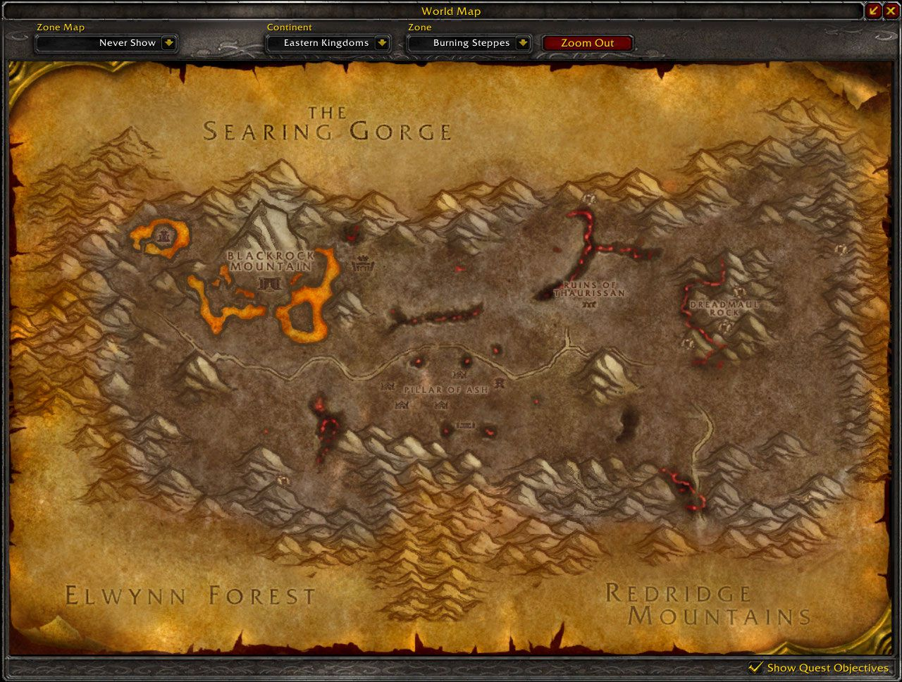 Burning Steppes map wow screenshot
