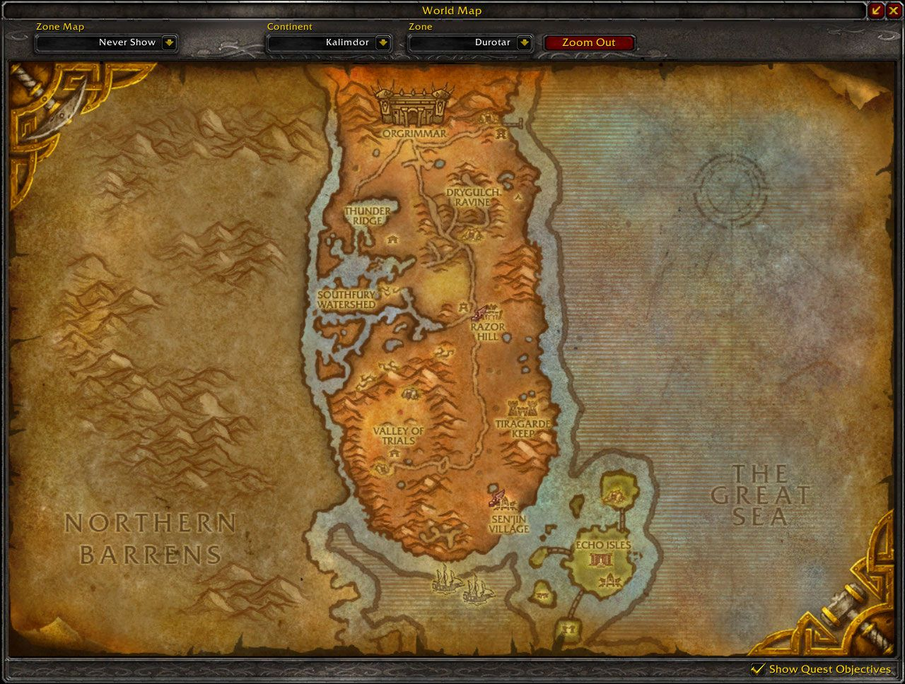 Durotar Cataclysm map wow screenshot