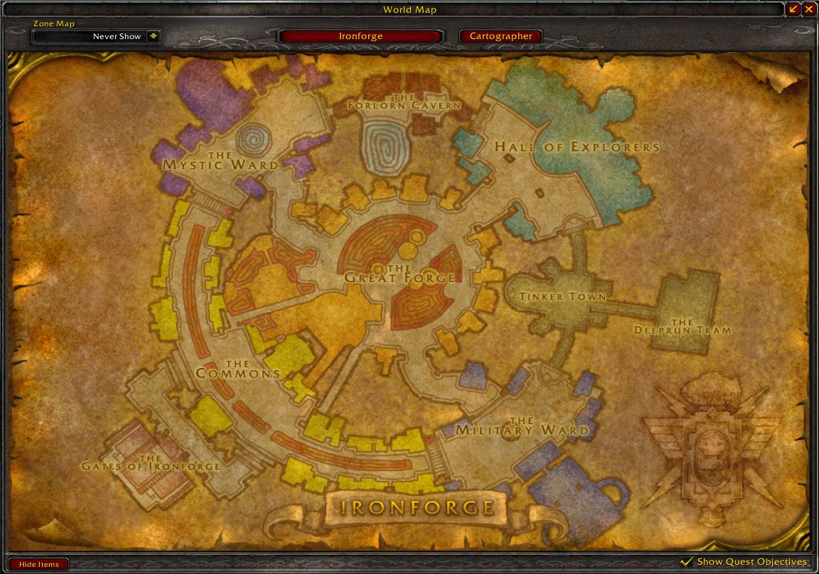 ironforge map wow screenshot