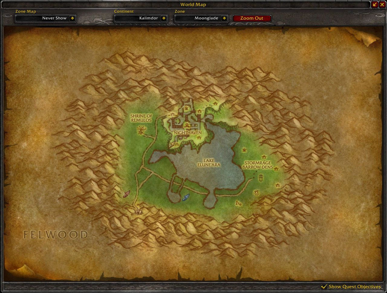 Moonglade Cataclysm map wow screenshot