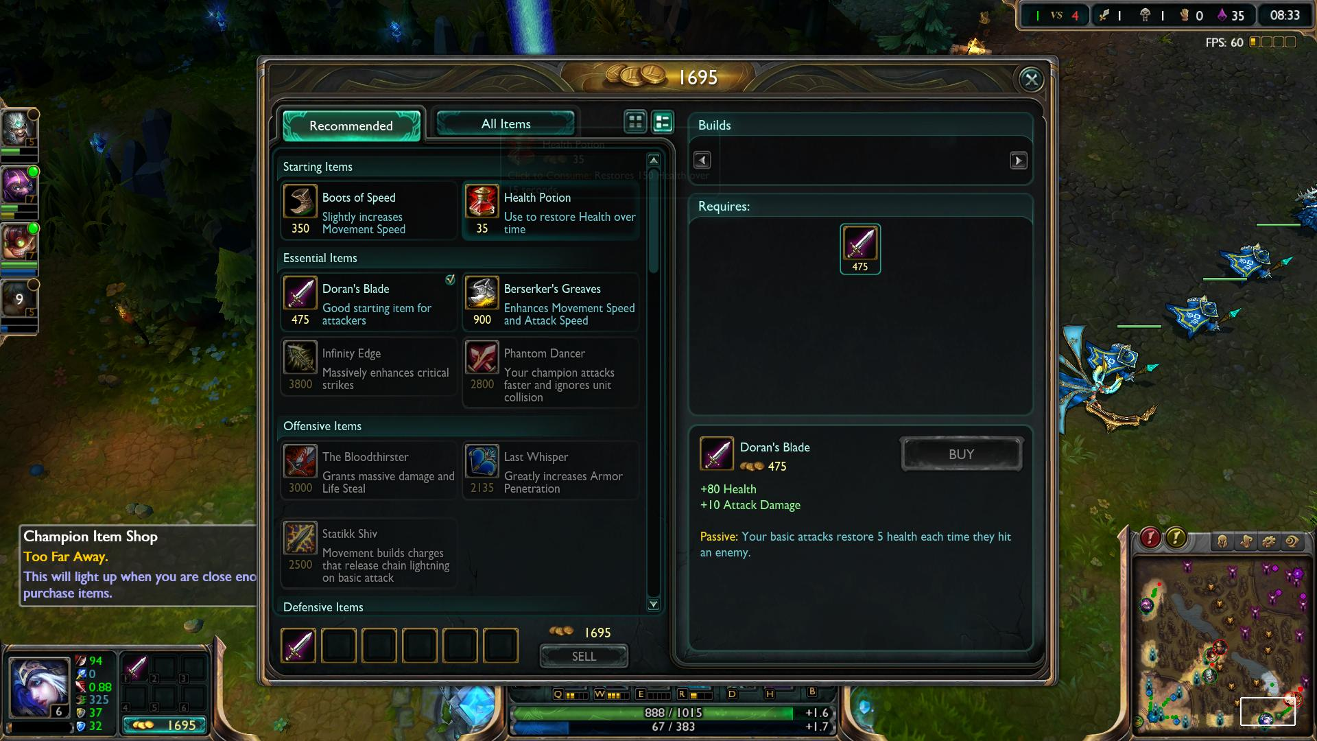 Doran's Blade Ashe lol lol screenshot