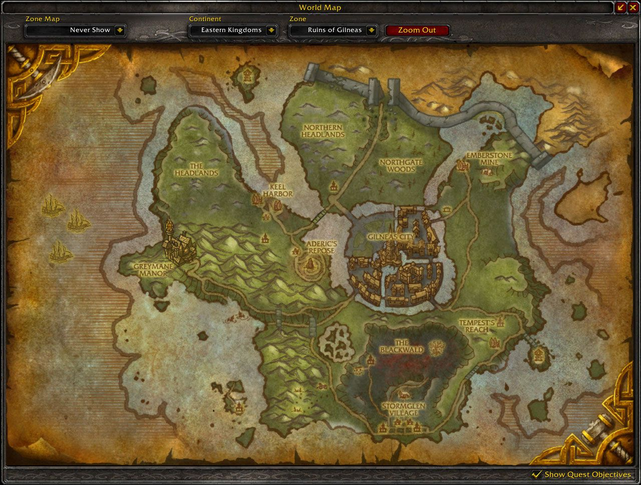 Ruins of Gilneas map wow screenshot