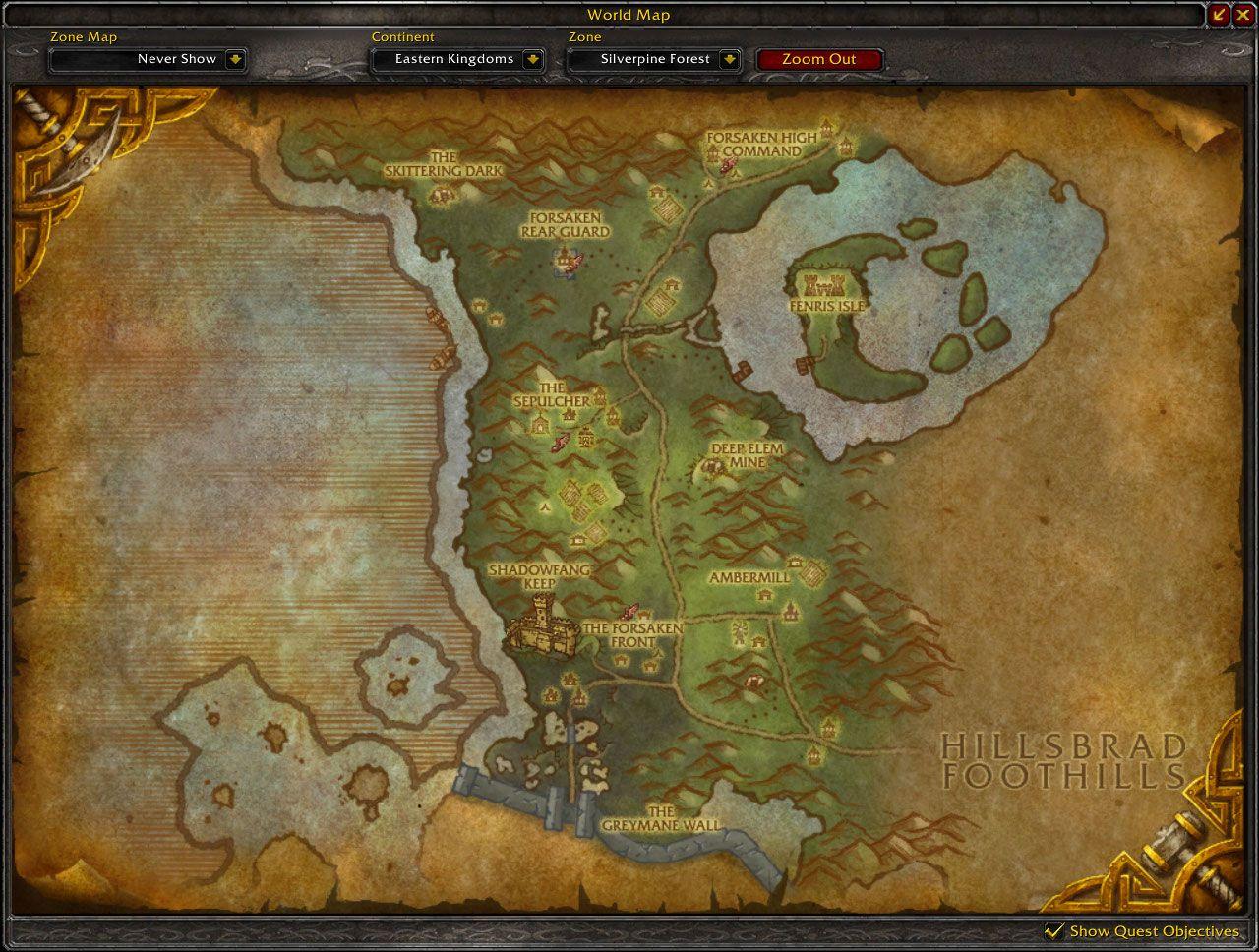Silverpine forest cataclysm map wow screenshot gamingcfg com