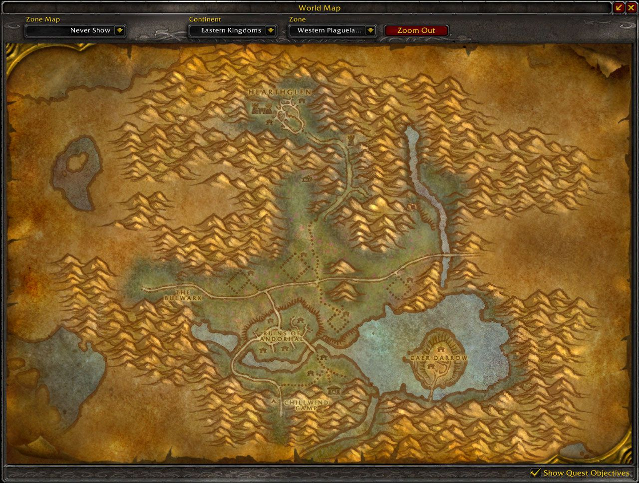 Western Plaguelands map wow screenshot