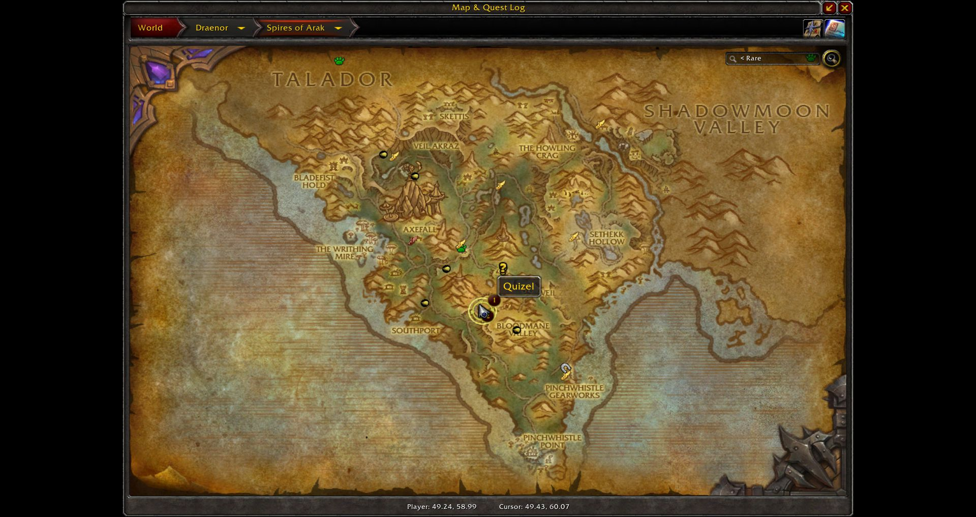 Map Spires of Arak wow screenshot