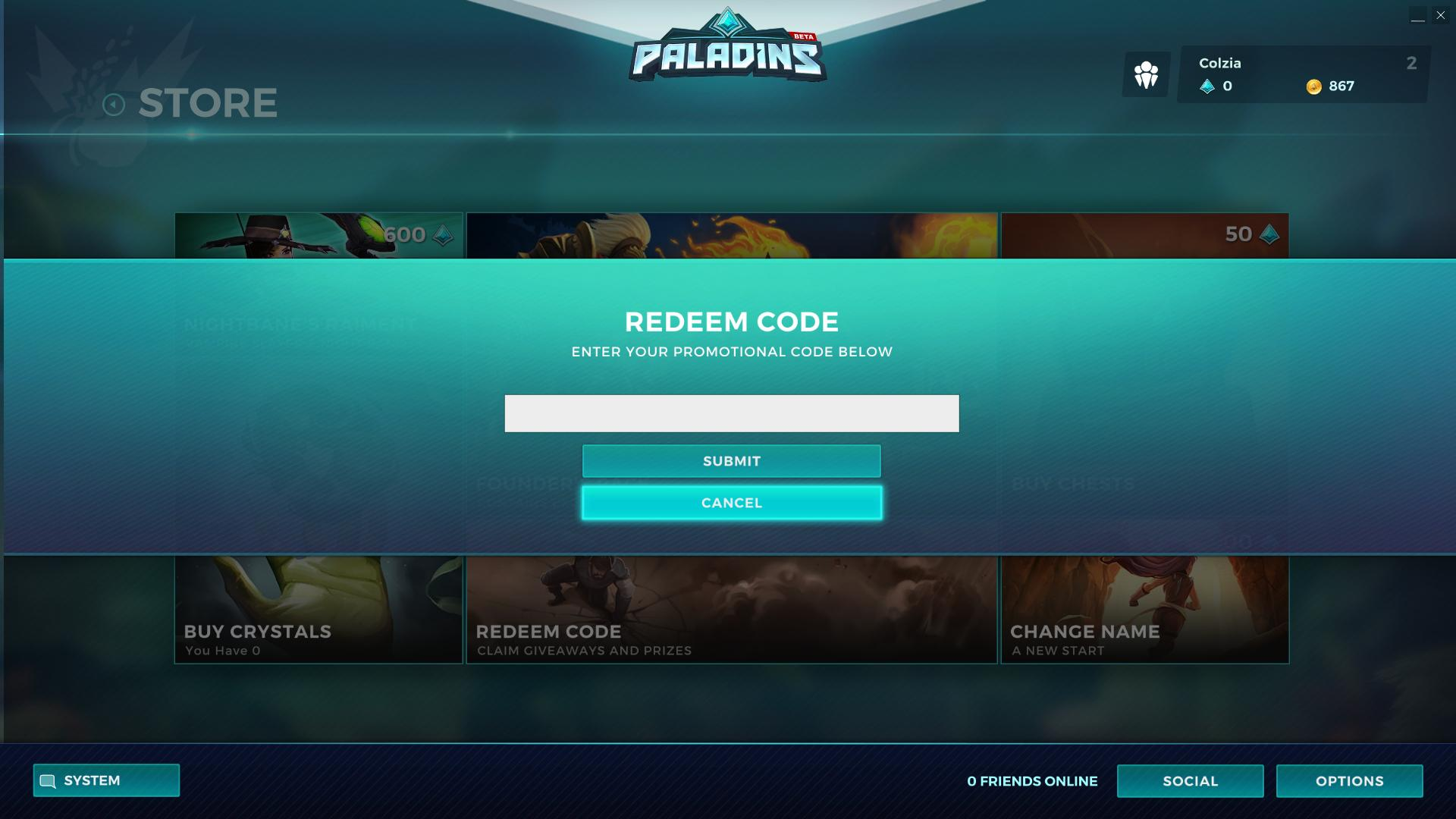 Redeem code paladins screenshot - Gamingcfg com